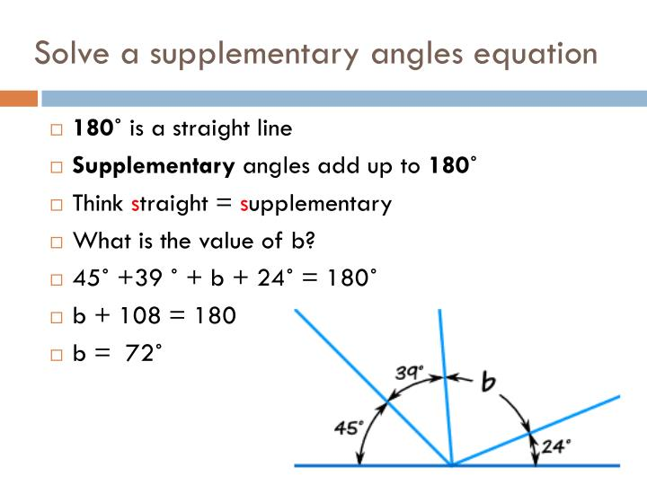Solve a supplementary angles equation