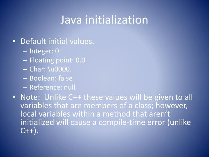 Java initialization