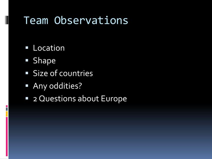 Team Observations