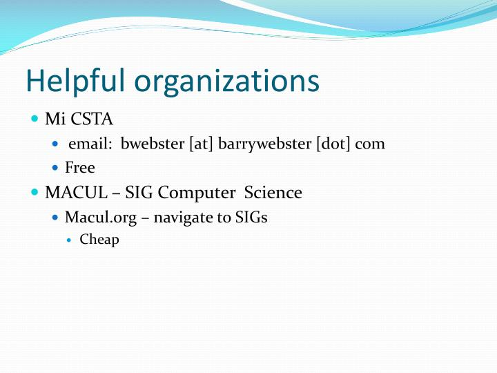 Helpful organizations