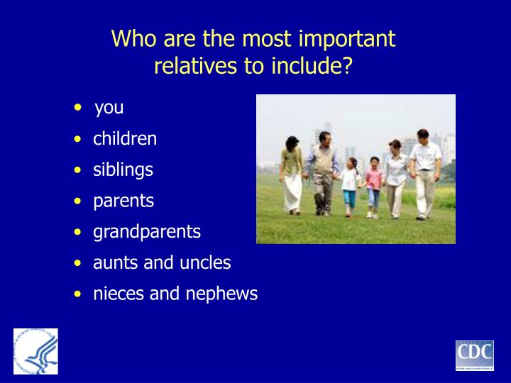 Who are the most important relatives to include?