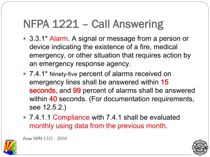 NFPA 1221 – Call Answering