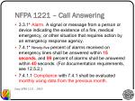 nfpa 1221 call answering