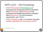 nfpa 1221 call processing