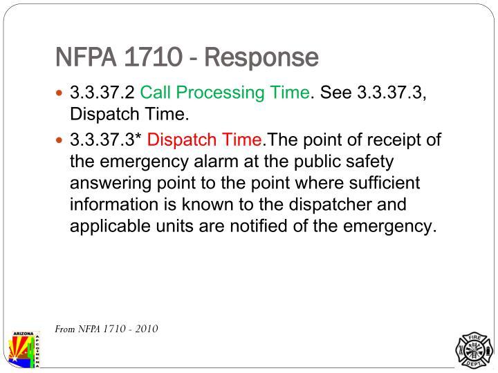 NFPA 1710 - Response