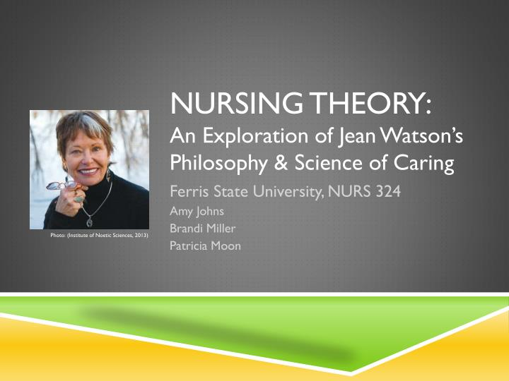 watsons theory of caring essay Watson s theory of caring doctor jean watson a nursing theorist born in 1940 in west virginia she started her nursing career at the university of colorado.