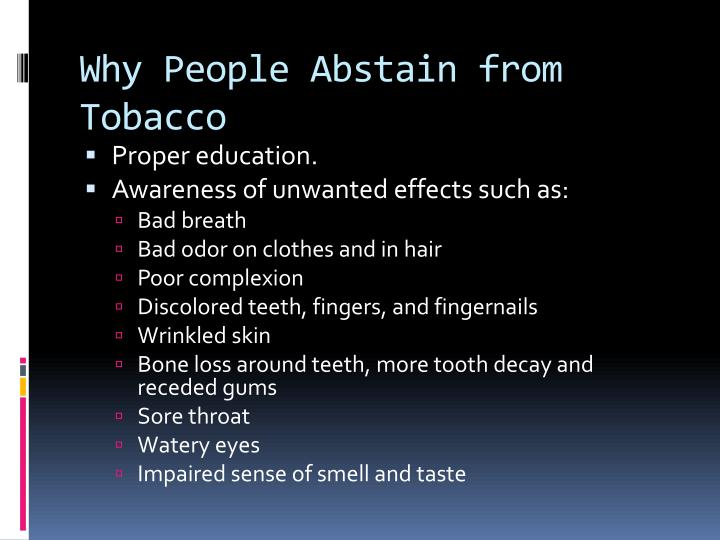 Why people abstain from tobacco