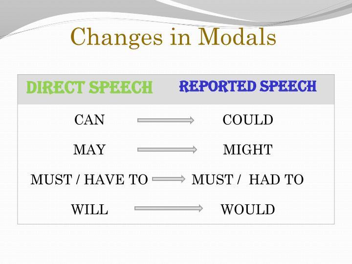 Changes in Modals