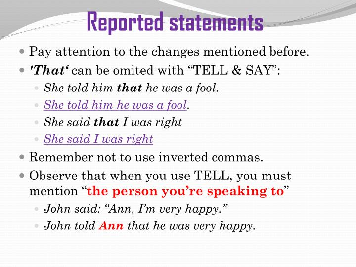 Reported statements