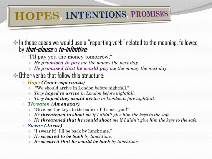 """In these cases we would use a """"reporting verb"""" related to the meaning, followed by"""