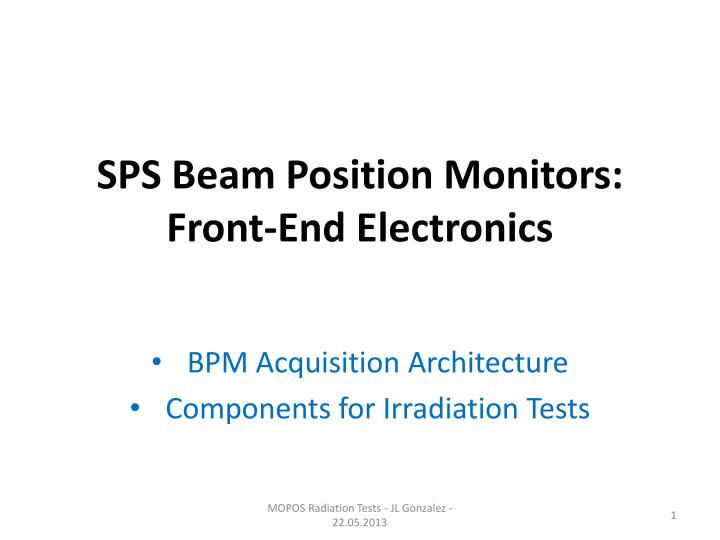 sps beam position monitors front end electronics