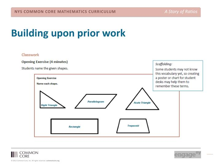 Building upon prior work