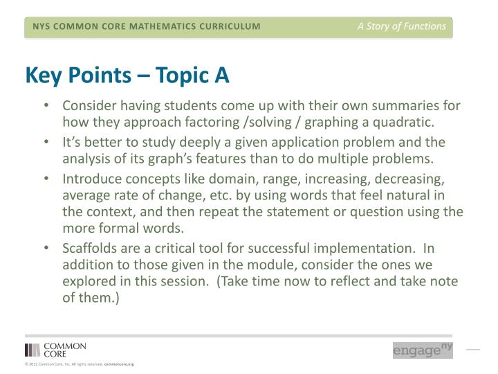 Key Points – Topic A