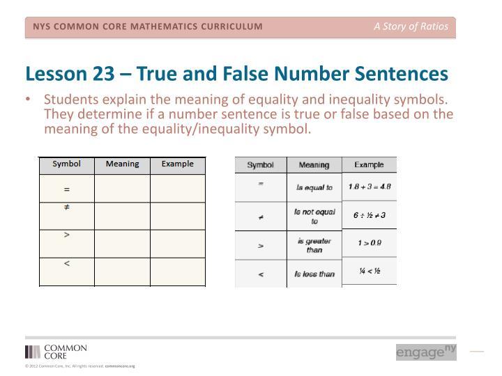 Lesson 23 – True and False Number Sentences