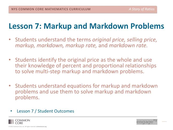 Lesson 7: Markup and Markdown Problems