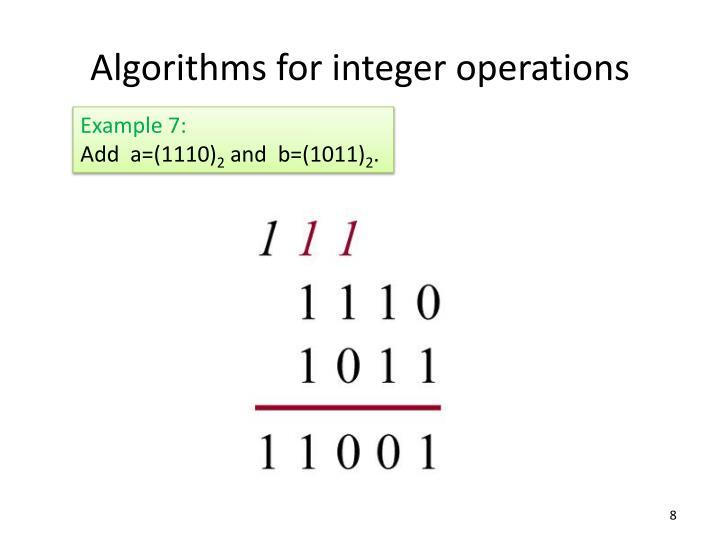 Algorithms for integer operations