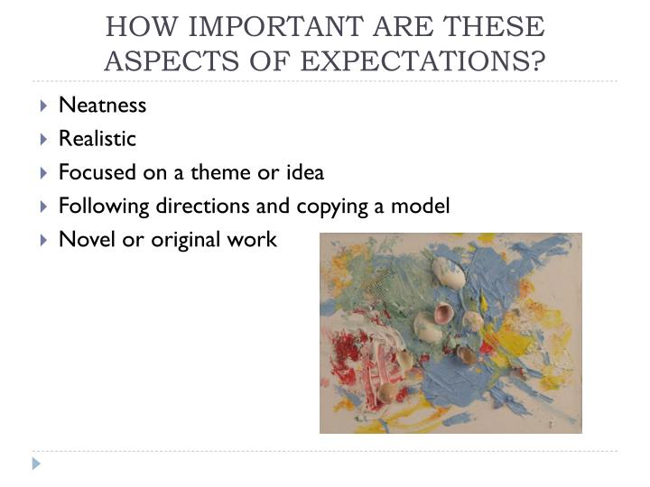 HOW IMPORTANT ARE THESE ASPECTS OF EXPECTATIONS?