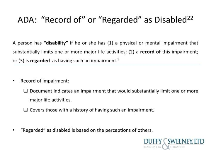 "ADA:  ""Record of"" or ""Regarded"" as Disabled"