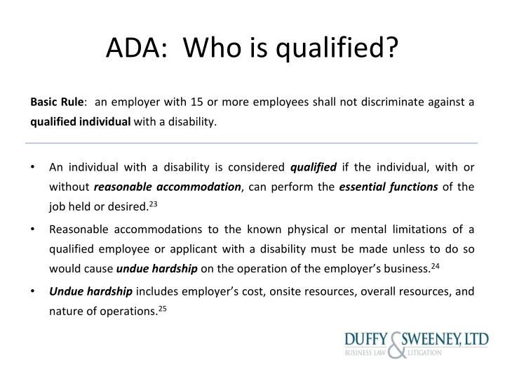 ADA:  Who is qualified?