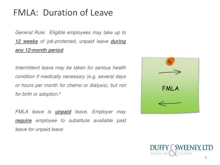 FMLA:  Duration of Leave