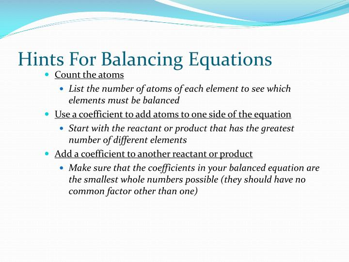 Hints For Balancing Equations