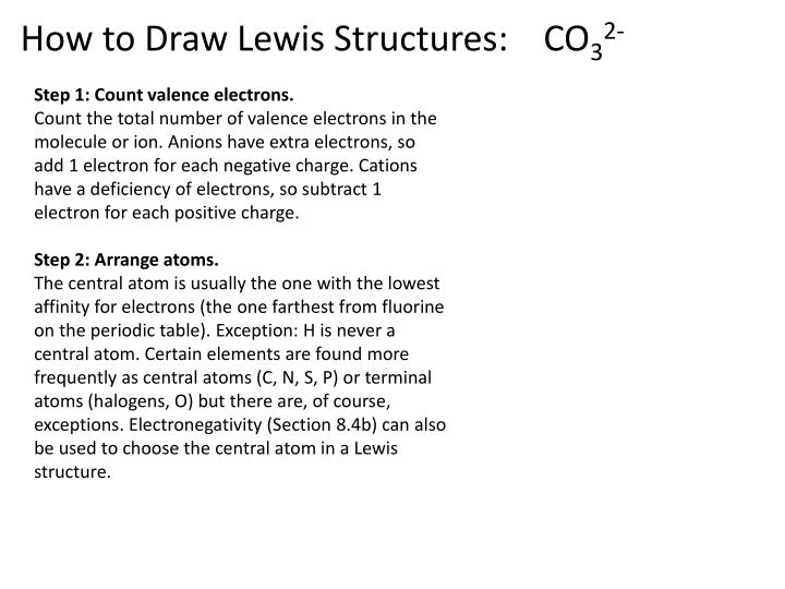 How to Draw Lewis Structures:    CO