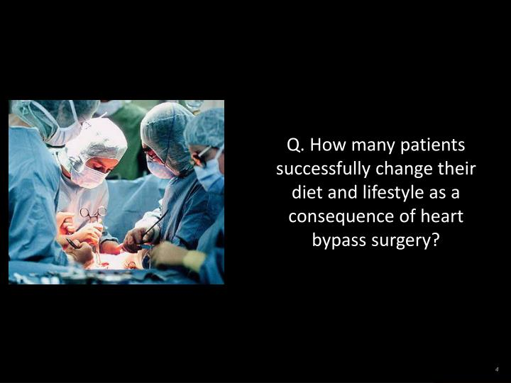 Q. How many patients successfully change their diet and lifestyle as a consequence of heart bypass surgery?