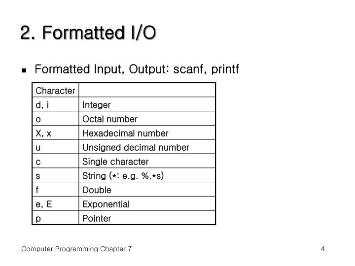 2. Formatted I/O