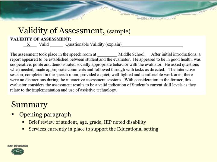 Validity of Assessment,