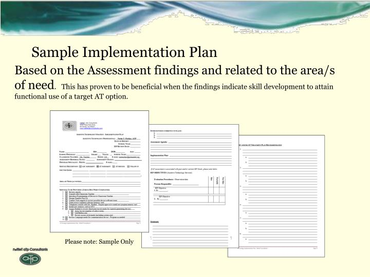 Sample Implementation Plan