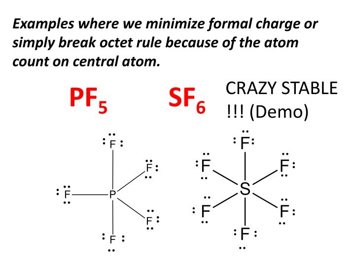 Examples where we minimize formal charge or simply break octet rule because of the atom count on central atom.
