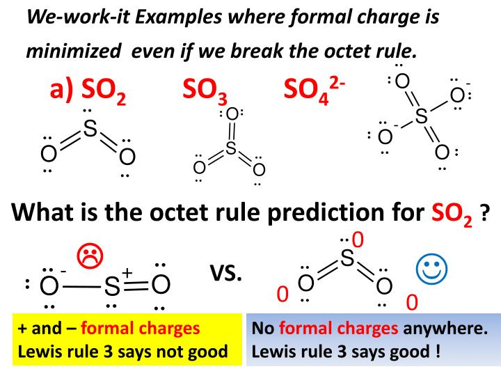 We-work-it Examples where formal charge is minimized  even if we break the octet rule.