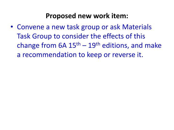 Proposed new work item: