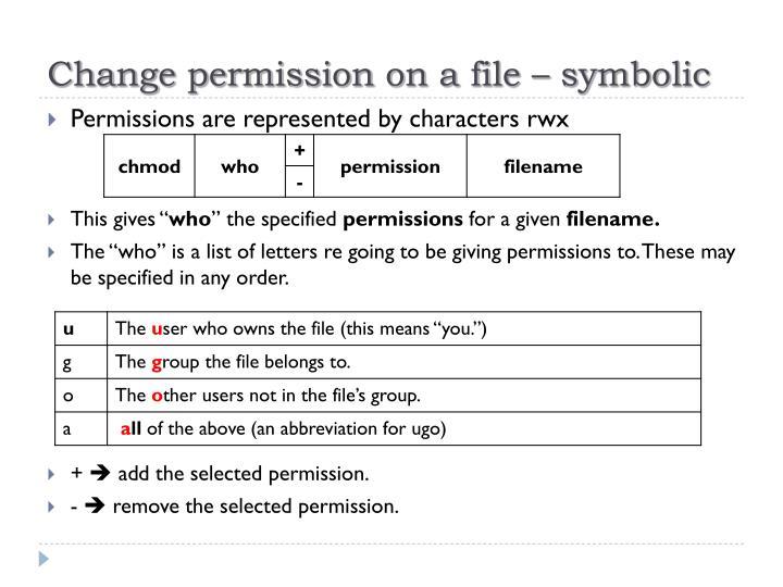 Change permission on a file – symbolic