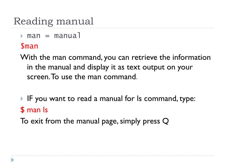 Reading manual