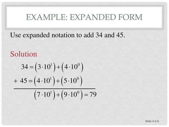 Example: Expanded Form