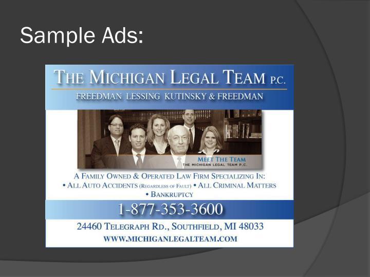 Sample Ads: