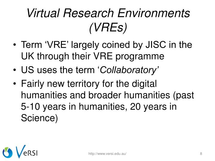 Virtual Research Environments (VREs)