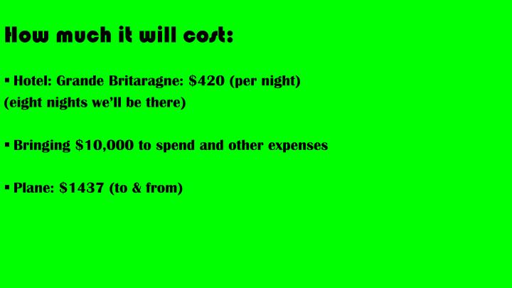 How much it will cost: