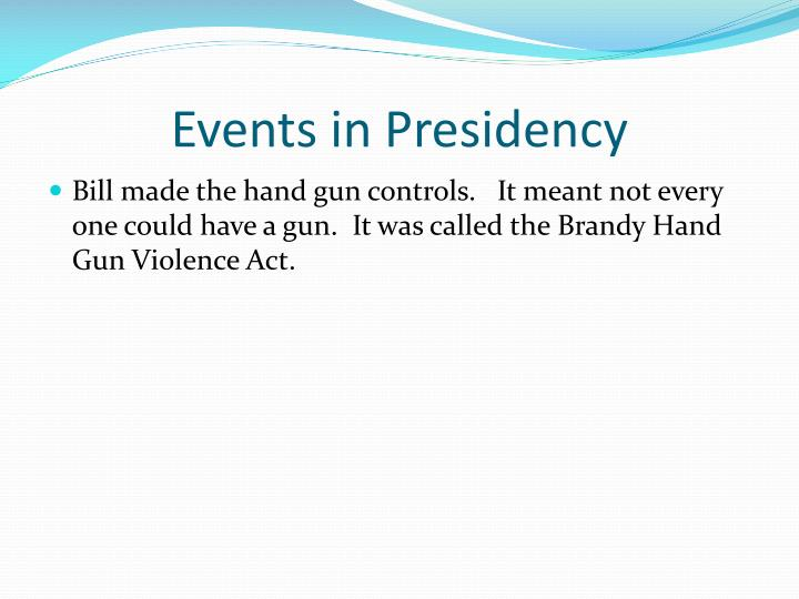 Events in Presidency