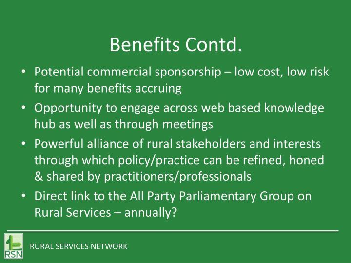 Benefits Contd.