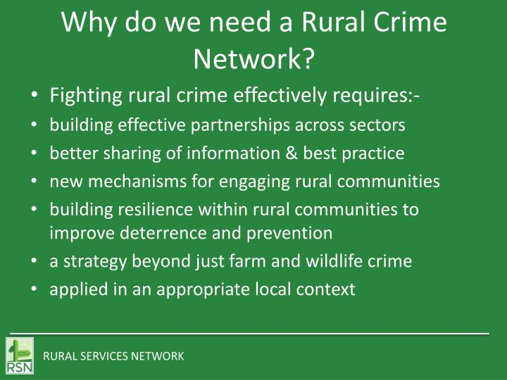 Why do we need a Rural Crime Network?