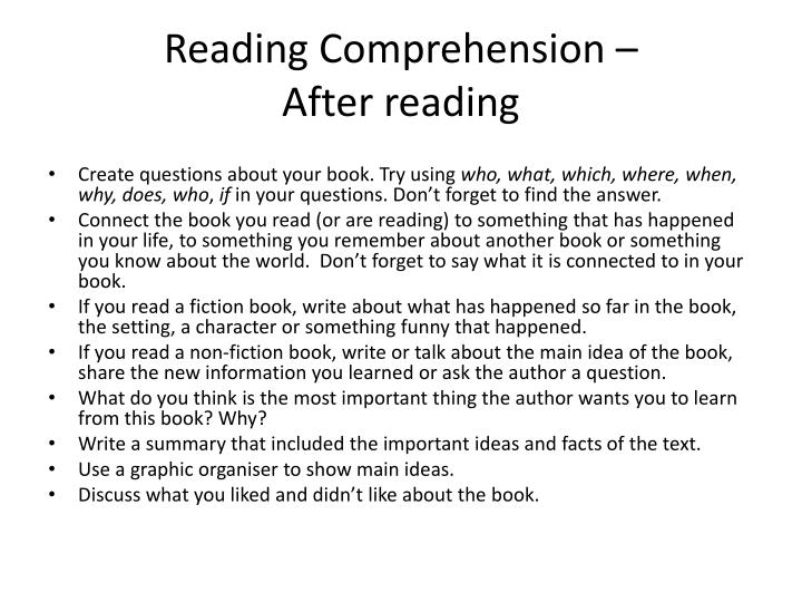 Reading Comprehension –