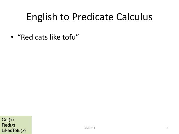 English to Predicate Calculus