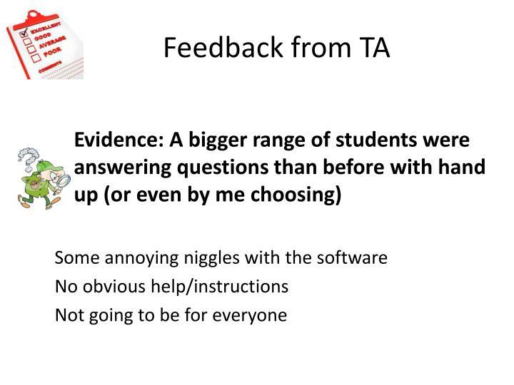 Feedback from TA