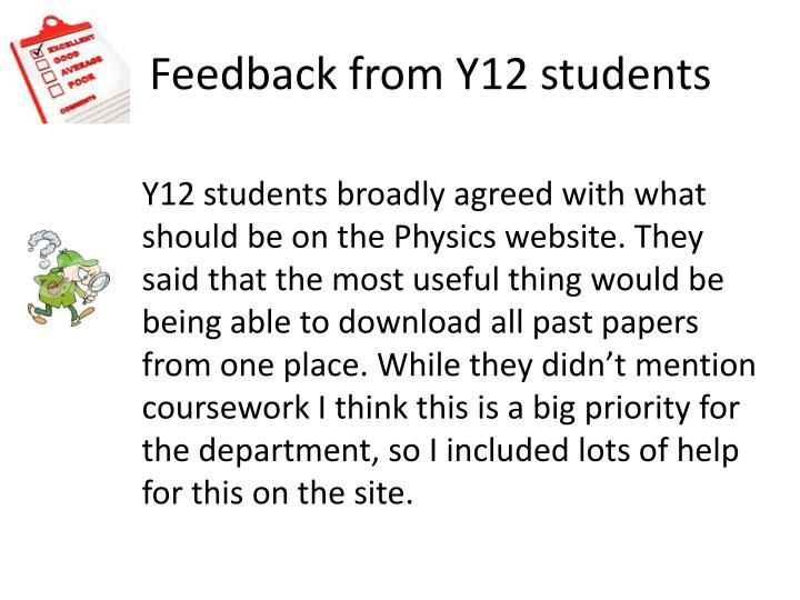 Feedback from Y12 students