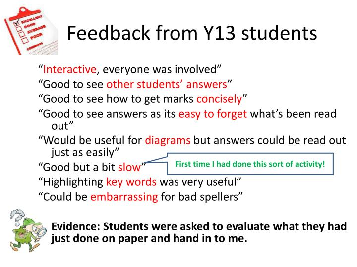Feedback from Y13 students