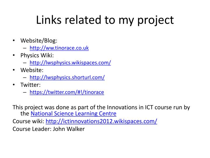 Links related to my project