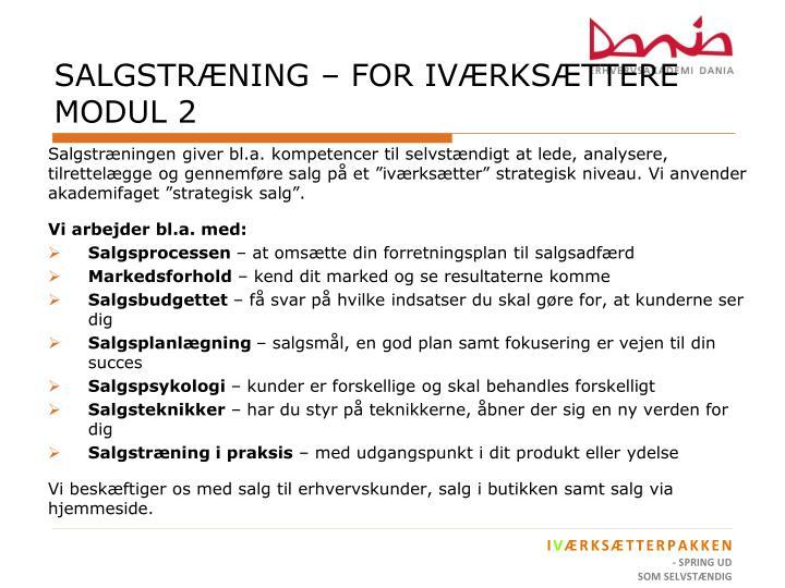 SALGSTRÆNING – FOR IVÆRKSÆTTERE