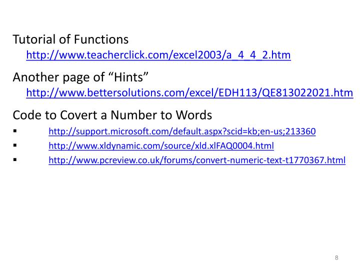 Tutorial of Functions